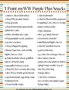 A free printable 1 point snack ideas for WW Blue Plan will help you keep on target with your goals. These healthy snack ideas for quick and easy. Weight Watchers Food Points, Weight Watchers Program, Weight Watchers Meal Plans, Portable Snacks, Purple Food, Weightwatchers Recipes, Ww Points, Ww Recipes, Skinny Recipes