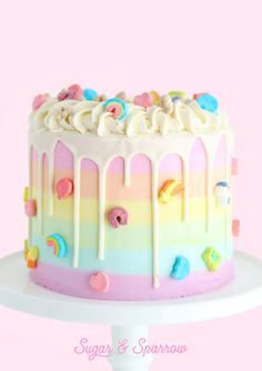 The prettiest Lucky Charms cake with rainbow striped cereal milk buttercream! I created a Lucky Charms version of my Mil Pretty Cakes, Cute Cakes, Yummy Cakes, Cute Birthday Cakes, Beautiful Birthday Cakes, Colorful Birthday Cake, Pastel Cakes, Colorful Cakes, Bolo Sofia