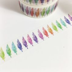 Gorgeous Colorful Row of Feathers Washi Tape by SilentPoetryArts