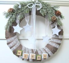 Burlap Wrapped Rustic Christmas Wreath | Wreath