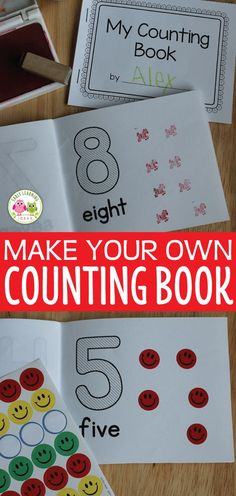 Make your own counting book with this number book template. 2 sizes of books are included. Kids can complete the books with stickers, stamps, pic. Teaching Numbers, Numbers Preschool, Preschool Crafts, Preschool Activities, Numbers For Toddlers, Body Preschool, Preschool Printables, Preschool Worksheets, Educational Activities