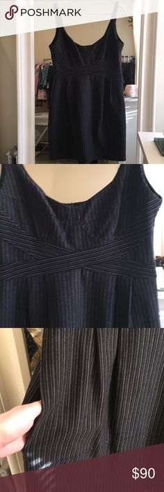 Nanette Lepore Corset Dress EUC, with POCKETS! Suiting fabric (with a little stretch) and pinstripes make it business. Bustier seaming and bust make it sexy too. I used to wear it to work under a cardigan or layered over a white sleeveless collared blouse. Very flattering. I always wore when I was going out after work as it goes from day to night very well.  Please feel free to ask any questions and I'll do my best to get to them as quickly as possible. Reasonable offers welcome. No trades…