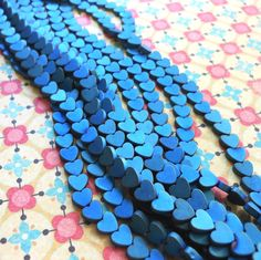 Heart Beads Teal Blue Metallic Hematite Heart Beads by PalomaBeads