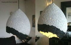paper mache over a boring light fixture to make something modern...not sure i love this shape but its a good idea