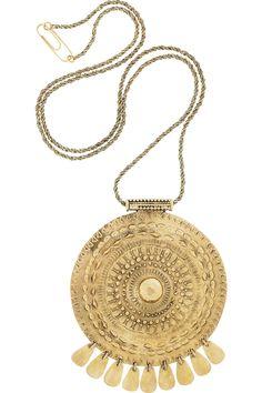 Aurélie Bidermann|Pachacamac 18-karat gold-plated medallion necklace|NET-A-PORTER.COM