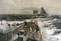 """""""Admiral Scheer"""" und """"Admiral Graf Spee"""" gemalt von Claus Bergen."""