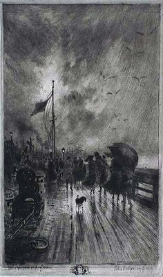 (Disembarking in England) by FELIX BUHOT, French, Etching, drypoint and aquatint, 1879 Intaglio Printmaking, Collagraph, Drypoint Etching, Etching Prints, Art Graphique, Graphic Art, Art Gallery, Illustration Art, Fine Art