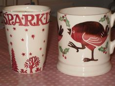 Emma Bridgewater Christmas Town Candle Beaker for Collectors Club 2012 and Robin 0.5 Pint Mug dated 2012