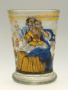 Beaker with Lovers, 1770  Glass, Glass, enamel, Height: 5 in. (12.8 cm); Diameter of rim: 3 11/16 in. (9.4 cm); Diameter of base: 3 1/4 in. (8.3 cm)  Gift of Varya and Hans Cohn (M.82.124.20)  Decorative Arts and Design Department
