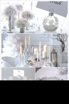 decoration table noel blanc tulle marque place boule flocon menu sapin glitter