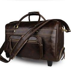 2f226ea4bb70 Baigio Men Leather Travel Overnight Duffle Bag On Wheele Rolling Luggage  Designer Large Capacity Carry On