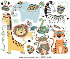 Jungle Tribal Animals Isolated Vector Set