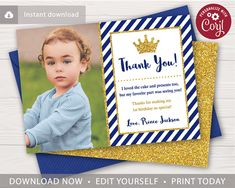 This editable and printable prince thank you card is perfect for a little boy's birthday party themed in royal blue and gold! Prince Birthday Theme, 1st Boy Birthday, 1st Birthday Parties, Birthday Party Decorations, Baby Shower Decorations, Birthday Thank You Cards, Photo Thank You Cards, Royal Blue And Gold, Photo Center