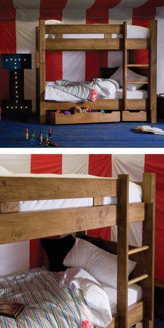 Handcrafted in solid wood, the Indigo Junior Plank Bed is designed to withstand the rough and tumble of family life. Easily converted in two single beds, ideal as your little ones grow older. #childrensbedroom #bunkbeds #littleones