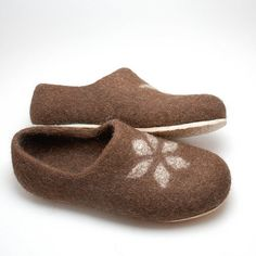 Felted wool brown clogs with rubber soles Eur 43 / by WoolenClogs, $95.00
