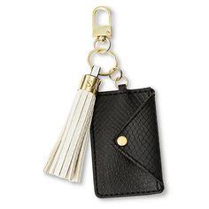 Women's Card Holder and Tassel Key Chain Black/White - Sam & Libby : Target