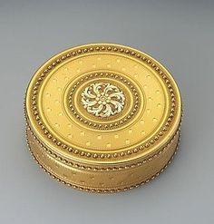 Antique Box, Maker: François-Nicolas Chevance (apprenticed 1766, master 1780, active 1793) Date: 1781–82 Culture: French, Paris Medium: Gold.  Diameter 3.5 inches.