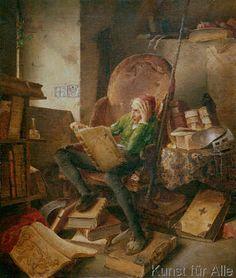 Adolf Schrödter - Don Quixote, reading