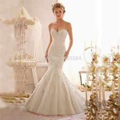 Wedding Dress 2015 New Arrival Mermaid Rhinestone Luxurious Pearls Bridal Gowns Tulle Lace Applique crystals Beads Vestidos