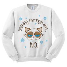 Crewneck schneidigen durch die Nr. mürrisch Katze hässlich Christmas Sweatshirt Pullover Jumper Pullover weiß