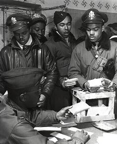 WWII African American Pilots in Italy, March, 1945 McMahan Photo Archive Fine Art Print Poster