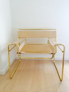 Wassily Chair (replica) with Rare Brass Frame —