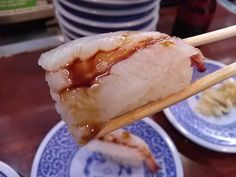 -Kurazushi- It's a conveyer-belt sushi chain popular. Shrimp $ 1.05 http://alike.jp/restaurant/target_top/593872/