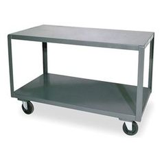 "High Deck Portable Table, 3 Shelves by Durham. $358.59. Welded Steel Mobile TablesDurham14-ga. steel. Shipped assembled 5"" polyurethane casters (2 rigid, 2 swivel)Gray powder-coated finishHigh Deck Portable Table, Load Capacity 1200 lb., Overall Length 48 In., Overall Width 24 In., Overall Height 30 In., Caster Type 2 Rigid, 2 Swivel, Caster Material Non-marring, Smooth Rolling Poly, Caster Size 5 In., Number of Shelves 3Material 14 Ga. Shelves, 1 1/2 In. x 1/8 In. ..."