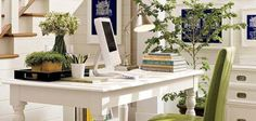 Image detail for -Bright And Clean Home Office Design Interior by Pottery Barn Mesa Home Office, Home Office Space, Home Office Desks, Home Office Furniture, Office Decor, Office Ideas, Desk Space, Office Spaces, White Furniture