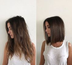 Long and boring to sleek blunt lob @Domdomhair