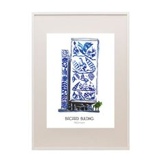 FRAMED Illustration of historic Bacardi Building (Now the YAF Young Arts Foundation building). Historical wall art for your home or office by EmilkaD