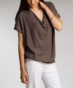 Love this Clay Organic Drape Front Top, $65 !!  by Indigenous on #zulily! #zulilyfinds