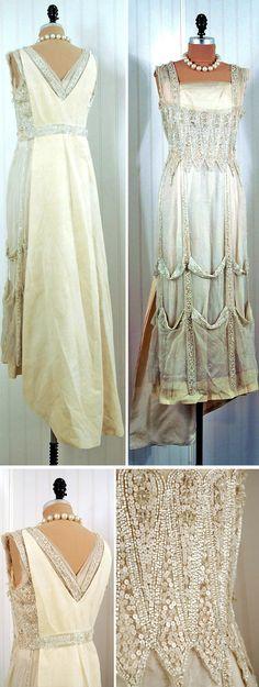 Evening or wedding dress ca. 1910s Heavily sequined & beaded ivory net-tulle. Low-cut shelf-bust sleeveless bodice. Cut-out windowpane zig-zag skirt design. Matching silk-brocade train. Timeless Vixen Vintage/etsy
