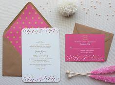 Confetti Wedding Invitation Suite, Modern Wedding Invitations, Pink and Gold, Sweet Wedding Invitation Suite - Confetti Dots | Sample Set