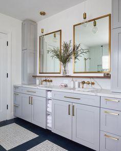 Light grey cabinets complementing brass fixtures in modern master bathroom. via Homepolish. Bathroom Storage, Bathroom Interior, Bathroom Ideas, Bathroom Organization, Bathroom Inspiration, Bathroom Designs, Bathroom Cleaning, Bath Ideas, Bathroom Inspo