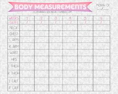 Body Measurements: (Monthly body measurements) The thing about creating printable that have to do with measuring progress is that some people may do it weekly, other do it monthly. So, I chose monthly because I don't want you to get stress if you didn't see any changes within a week. I gave you 6 weeks although there are usually 4-5 weeks in a month, so you may have the row empty. You can measure it with any unit you want (cm or in)