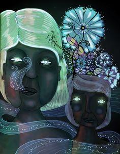 Las Hermanas by Juliana Ruiz, via Behance Art, Digital Art, Skeletor, Character