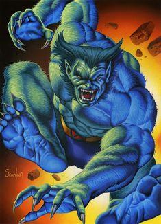 Beast - Hank McCoy by Peter Scanlan Marvel Comic Character, Comic Book Characters, Marvel Characters, Comic Books Art, Comic Art, Marvel Xmen, Marvel Comic Universe, Disney Marvel, Marvel Heroes
