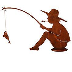Hier haben wir eine sehr gelungene Gartenfigur. Der Rost Angler mit Angel und Fisch kommt Metal Yard Art, Scrap Metal Art, Plasma Cutter Art, Etched Mirror, Yard Sculptures, Metal Art Projects, Steel Art, Stencil, Iron Art