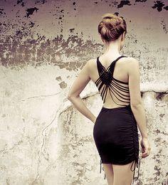 Little Black dress, woven macrame back and sides details, built in bra, unique, feminine