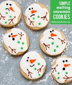 "simple melting snowman cookies (from the creator of the ORIGINAL melting snowman cookie), or ""snowman puddle cookies"""