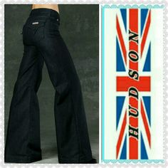 """Hudson wide leg jeans Like new Hudson wide leg jeans with stretch.  Dark wash.  No fraying on hemline.  Approx 14"""" across the top and 30"""" inseam. Hudson Jeans Jeans Flare & Wide Leg"""