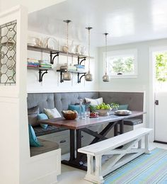"""bigger project. turn table add """"L"""" shaped bench seating. Wall in part of half wall & add stained glass to the top of half wall. Big project Big look"""