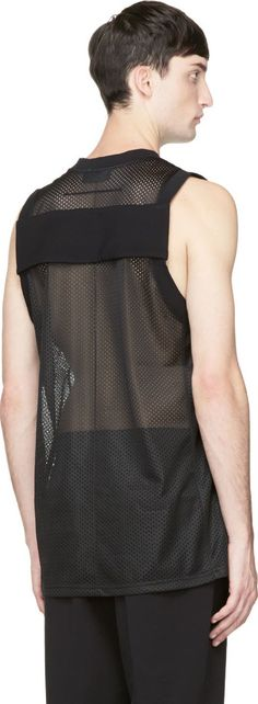 Givenchy: Black Mesh Tank Top | SSENSE