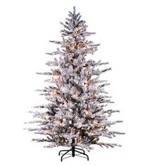 Sterling Inc. Flocked Tree Heavy Pacific Glitter Artificial Christmas Tree