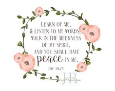 Print Only LDS YW Theme 2018 Peace In Me Print D&C 19:23 2018 Mutual Theme Print ONLY art print wall decor
