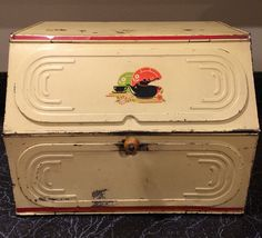 "Large Vintage Tin Metal Bread Box with Two Shelves & Lock, 15"" Wide"