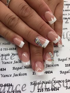 rhinestone nail art, french manicure, french tip nails, everyday nails, pretty nails, elegant nails, square shape nails, bling nail art, bling nail designs