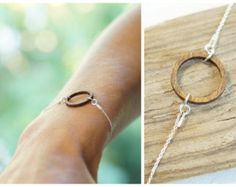 simple bracelet, 925 silver chain, wood circle, ring Silver Karma, Karma Bracelet, minimalist jewelry, geometric jewellery, bracelet