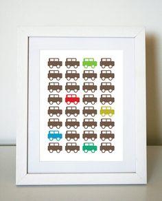 Car Parade  8X10 Art Print/Wall Art  Baby Nursery by jenimdesign, $20.00